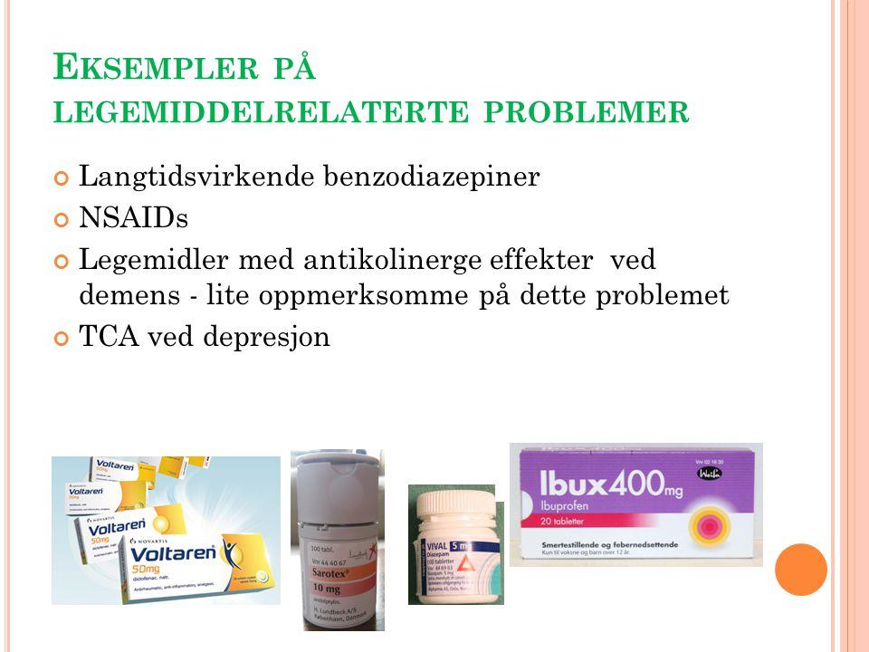 E KSEMPLER PÅ LEGEMIDDELRELATERTE PROBLEMER Langtidsvirkende benzodiazepiner NSAIDs Legemidler med antikolinerge effekter ved demens - lite oppmerksom
