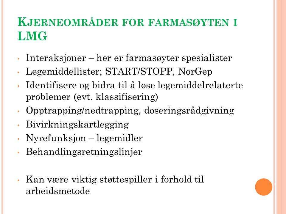 K JERNEOMRÅDER FOR FARMASØYTEN I LMG Interaksjoner – her er farmasøyter spesialister Legemiddellister; START/STOPP, NorGep Identifisere og bidra til å
