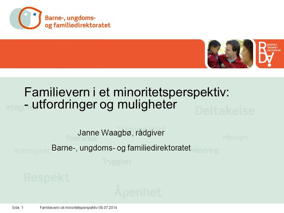Side 1Familievern i et minoritetsperspektiv/ 08.07.2014 Familievern i et minoritetsperspektiv: - utfordringer og muligheter Janne Waagbø, rådgiver Bar