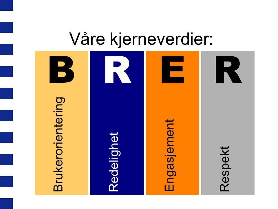 Våre kjerneverdier: BrukerorienteringRedelighetEngasjementRespekt BRER