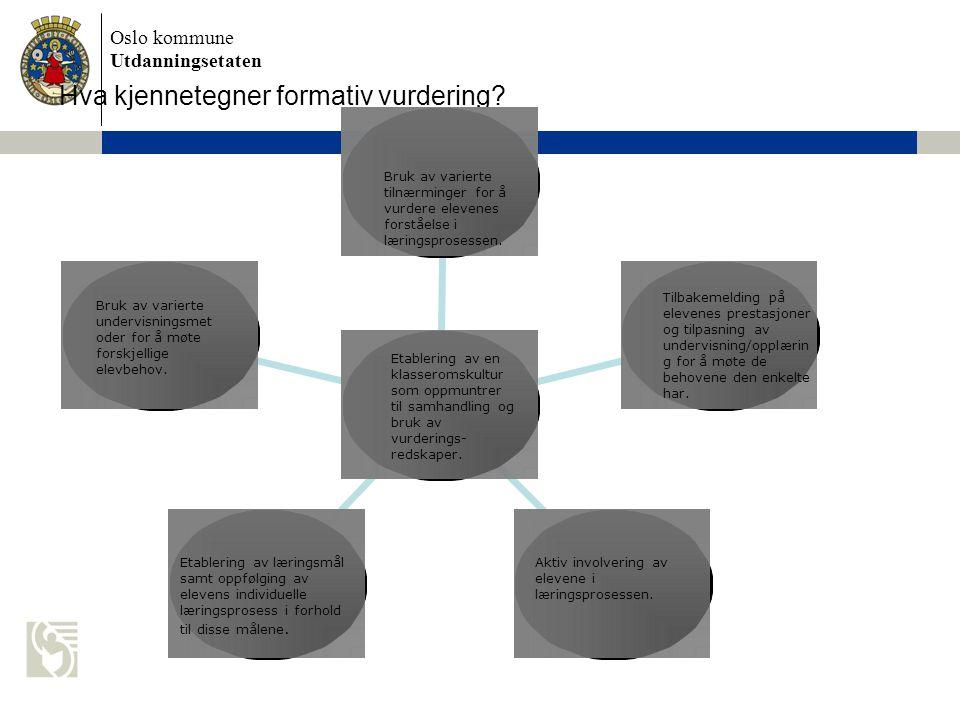 Oslo kommune Utdanningsetaten Hva kjennetegner formativ vurdering? Bruk av varierte tilnærminger for å vurdere elevenes forståelse i læringsprosessen.