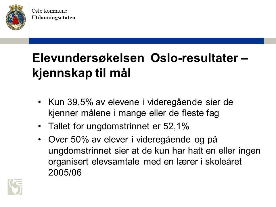 Oslo kommune Utdanningsetaten Elevundersøkelsen Oslo-resultater – kjennskap til mål Kun 39,5% av elevene i videregående sier de kjenner målene i mange