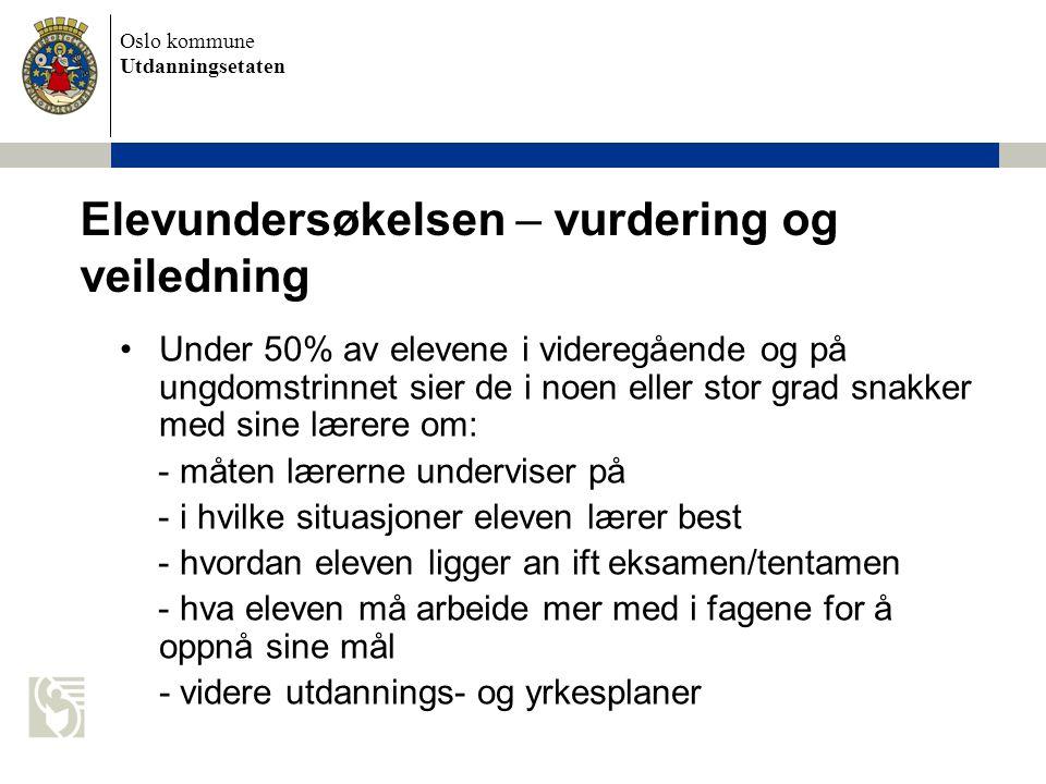 Oslo kommune Utdanningsetaten Elevundersøkelsen – vurdering og veiledning Under 50% av elevene i videregående og på ungdomstrinnet sier de i noen elle