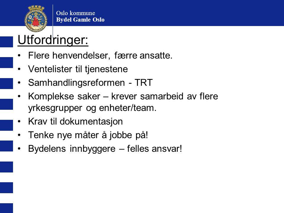 Oslo kommune Bydel Gamle Oslo Utfordringer: Flere henvendelser, færre ansatte. Ventelister til tjenestene Samhandlingsreformen - TRT Komplekse saker –