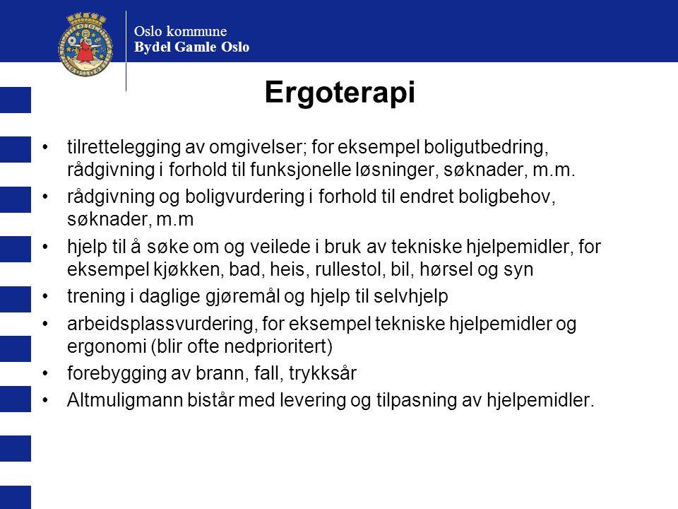Oslo kommune Bydel Gamle Oslo Ergoterapi tilrettelegging av omgivelser; for eksempel boligutbedring, rådgivning i forhold til funksjonelle løsninger,