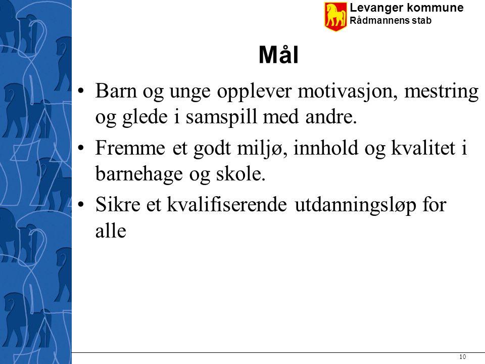 Levanger kommune Rådmannens stab Mål Barn og unge opplever motivasjon, mestring og glede i samspill med andre. Fremme et godt miljø, innhold og kvalit