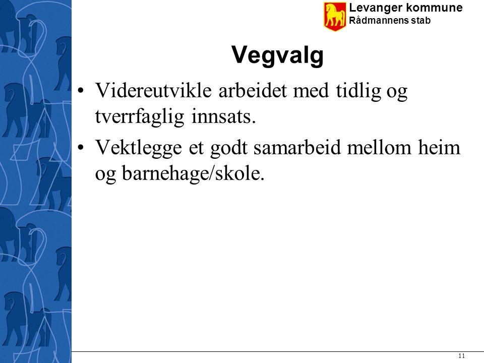 Levanger kommune Rådmannens stab Vegvalg Videreutvikle arbeidet med tidlig og tverrfaglig innsats. Vektlegge et godt samarbeid mellom heim og barnehag