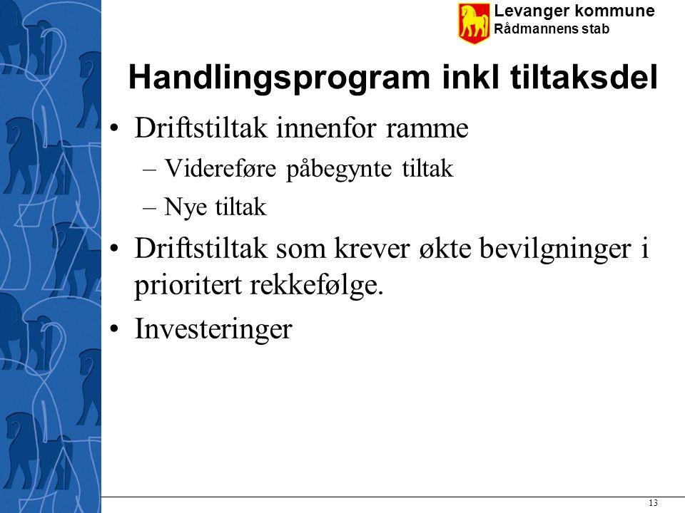 Levanger kommune Rådmannens stab Handlingsprogram inkl tiltaksdel Driftstiltak innenfor ramme –Videreføre påbegynte tiltak –Nye tiltak Driftstiltak so