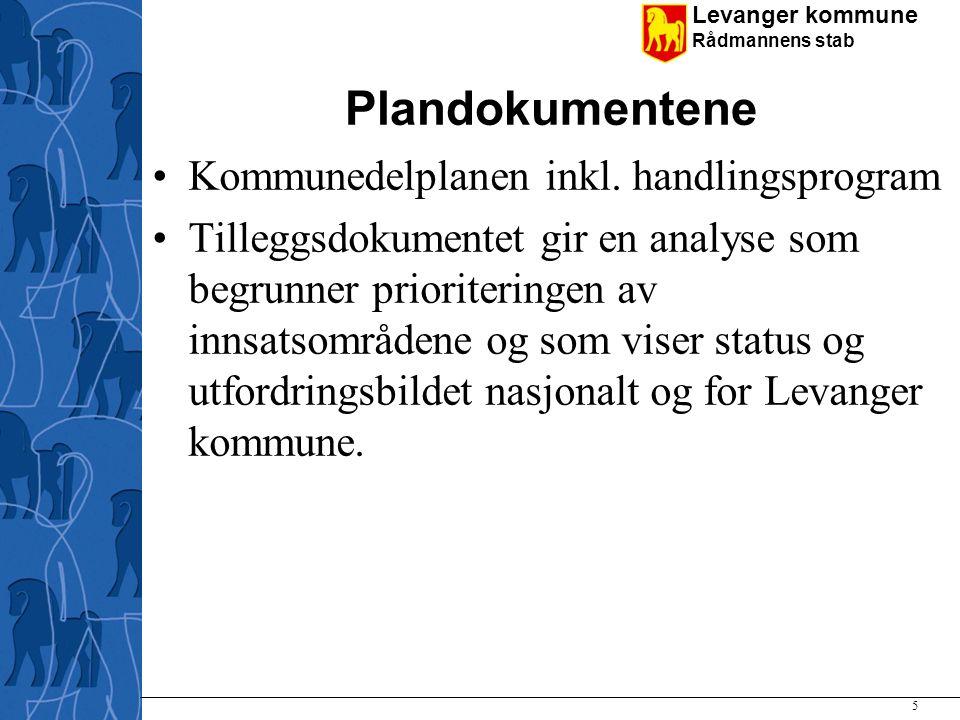 Levanger kommune Rådmannens stab Plandokumentene Kommunedelplanen inkl. handlingsprogram Tilleggsdokumentet gir en analyse som begrunner prioriteringe