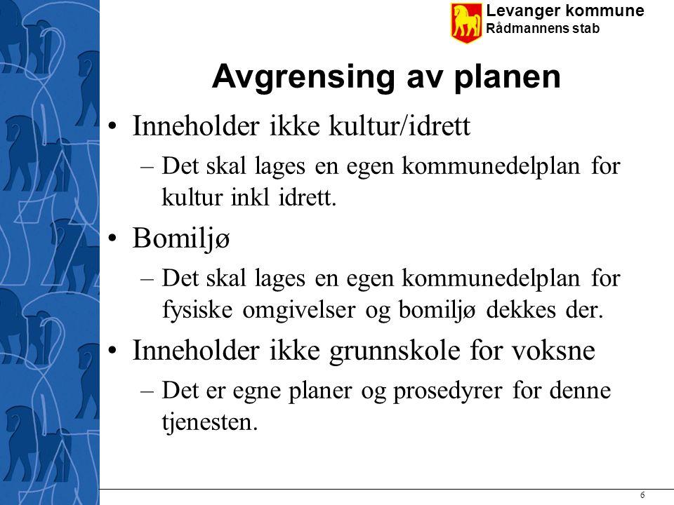 Levanger kommune Rådmannens stab Avgrensing av planen Inneholder ikke kultur/idrett –Det skal lages en egen kommunedelplan for kultur inkl idrett. Bom