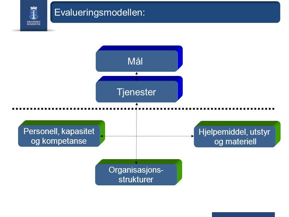 Tjenester Mål Personell, kapasitet og kompetanse Hjelpemiddel, utstyr og materiell Organisasjons- strukturer Evalueringsmodellen: