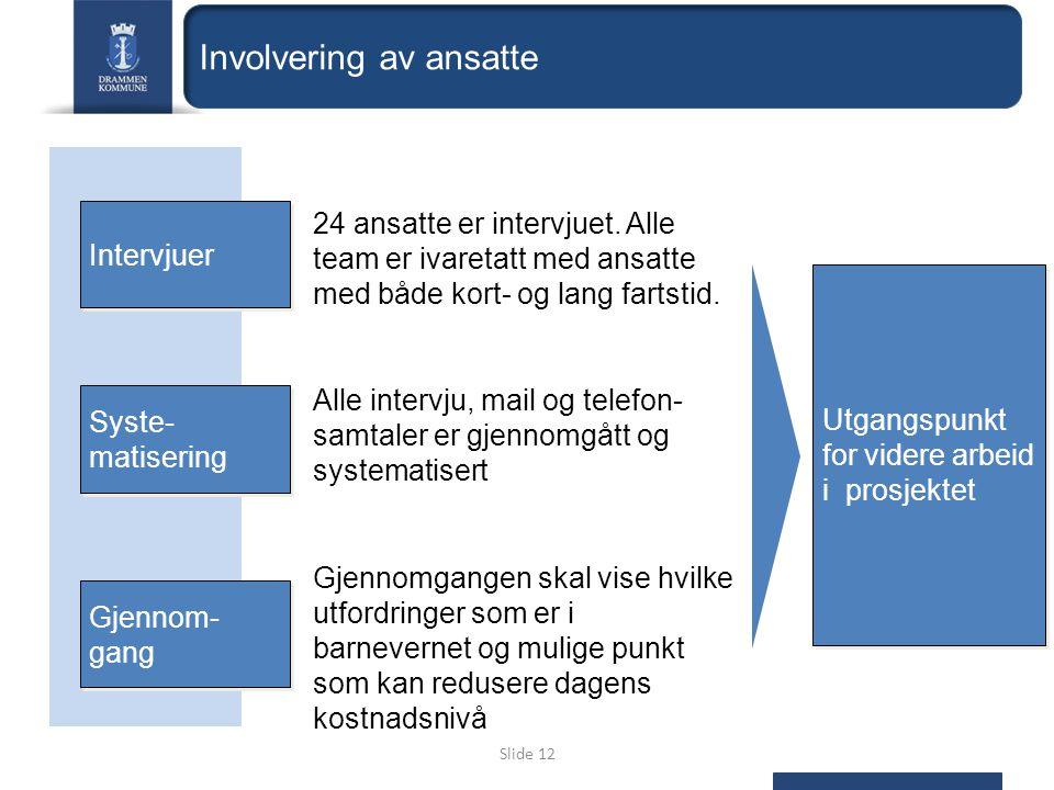 Slide 12 Gjennom- gang 24 ansatte er intervjuet.