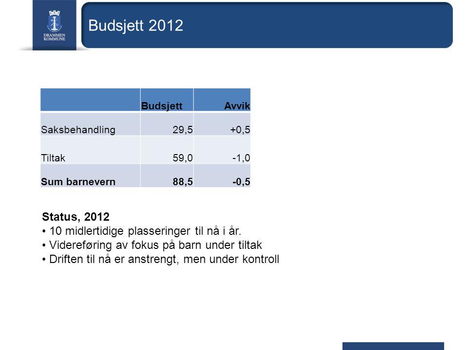 Budsjett 2012 BudsjettAvvik Saksbehandling29,5+0,5 Tiltak59,0-1,0 Sum barnevern88,5-0,5 Status, 2012 10 midlertidige plasseringer til nå i år.