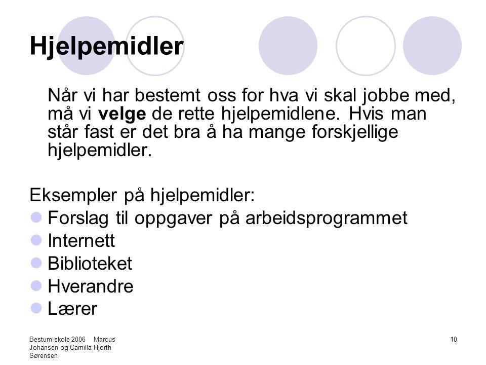 Bestum skole 2006 Marcus Johansen og Camilla Hjorth Sørensen 10 Hjelpemidler Når vi har bestemt oss for hva vi skal jobbe med, må vi velge de rette hj