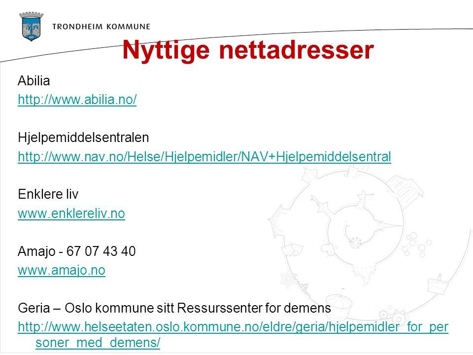 Nyttige nettadresser Abilia http://www.abilia.no/ Hjelpemiddelsentralen http://www.nav.no/Helse/Hjelpemidler/NAV+Hjelpemiddelsentral Enklere liv www.e
