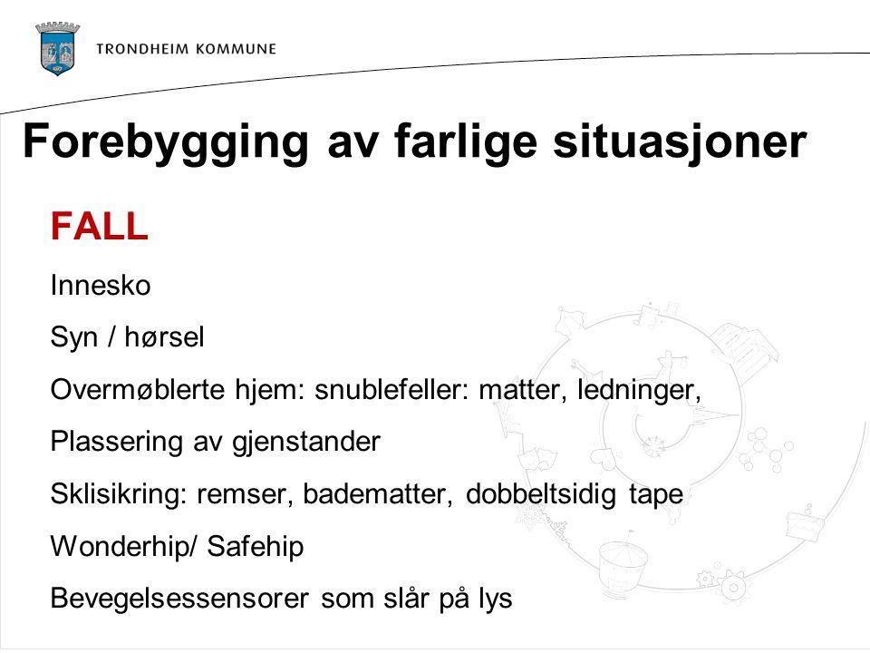 Forebygging av farlige situasjoner FALL Innesko Syn / hørsel Overmøblerte hjem: snublefeller: matter, ledninger, Plassering av gjenstander Sklisikring