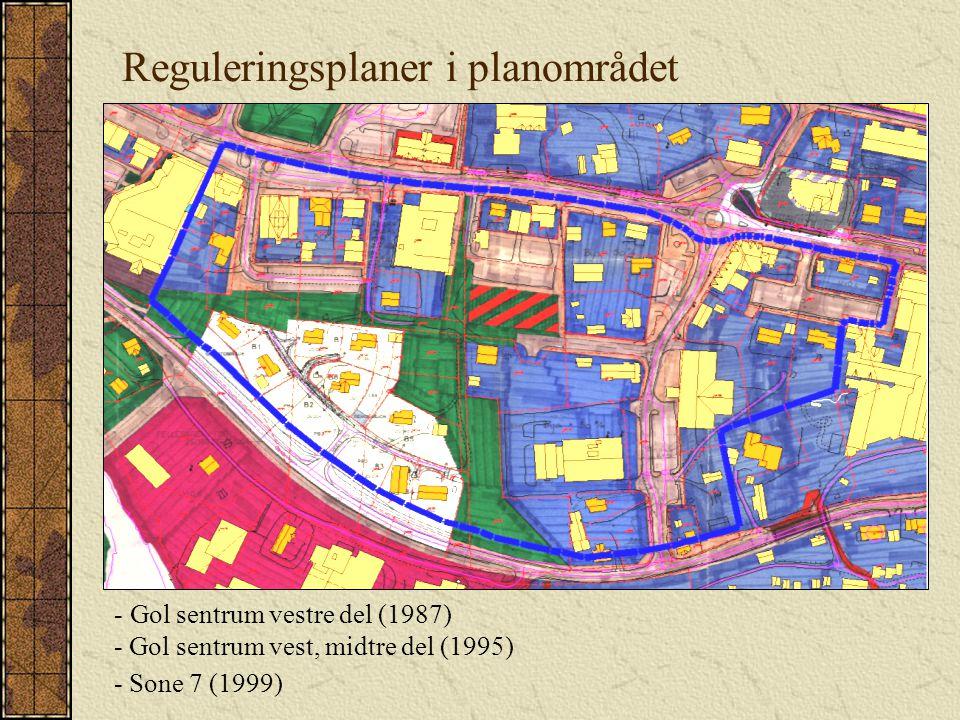 Reguleringsplaner i planområdet - Gol sentrum vestre del (1987) - Gol sentrum vest, midtre del (1995) - Sone 7 (1999)