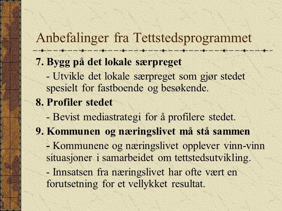 Anbefalinger fra Tettstedsprogrammet 7.
