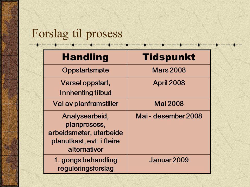 Forslag til prosess HandlingTidspunkt OppstartsmøteMars 2008 Varsel oppstart, Innhenting tilbud April 2008 Val av planframstillerMai 2008 Analysearbeid, planprosess, arbeidsmøter, utarbeide planutkast, evt.