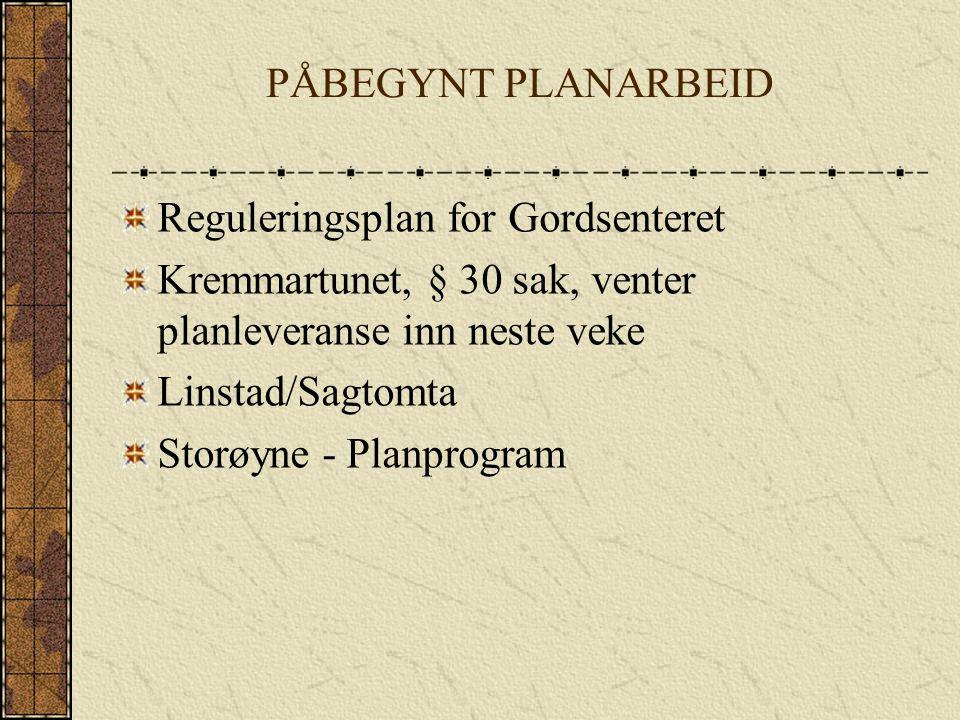 PÅBEGYNT PLANARBEID Reguleringsplan for Gordsenteret Kremmartunet, § 30 sak, venter planleveranse inn neste veke Linstad/Sagtomta Storøyne - Planprogram