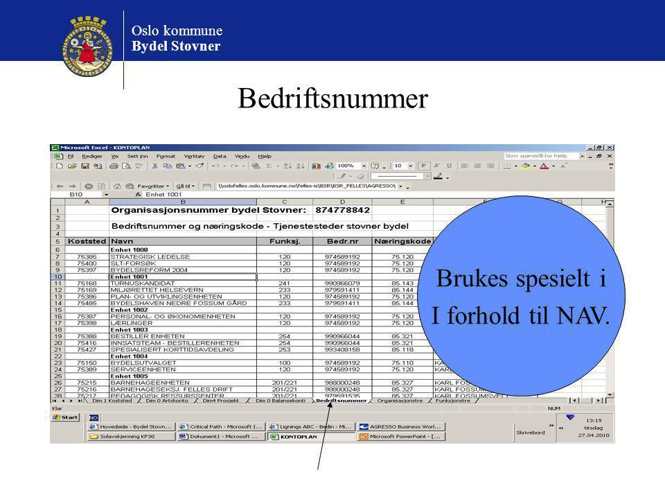 Oslo kommune Bydel Stovner Bedriftsnummer Brukes spesielt i I forhold til NAV.