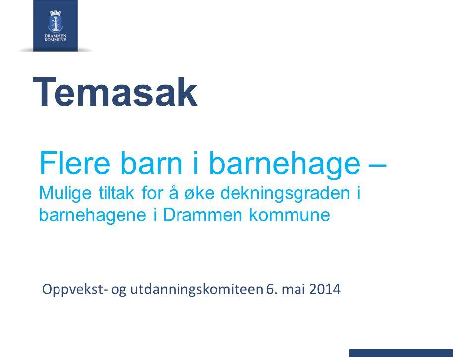 Bakgrunn og politisk behandling Vedtak økonomiplan 2014-2017 Rådmannen bes fremme sak om tiltak som kan settes inn for å få flere barn i barnehagene i Drammen (øke dekningsgraden) Mål i gjeldende økonomiplan Barnehagedekningen øker ett prosentpoeng hvert år i perioden.