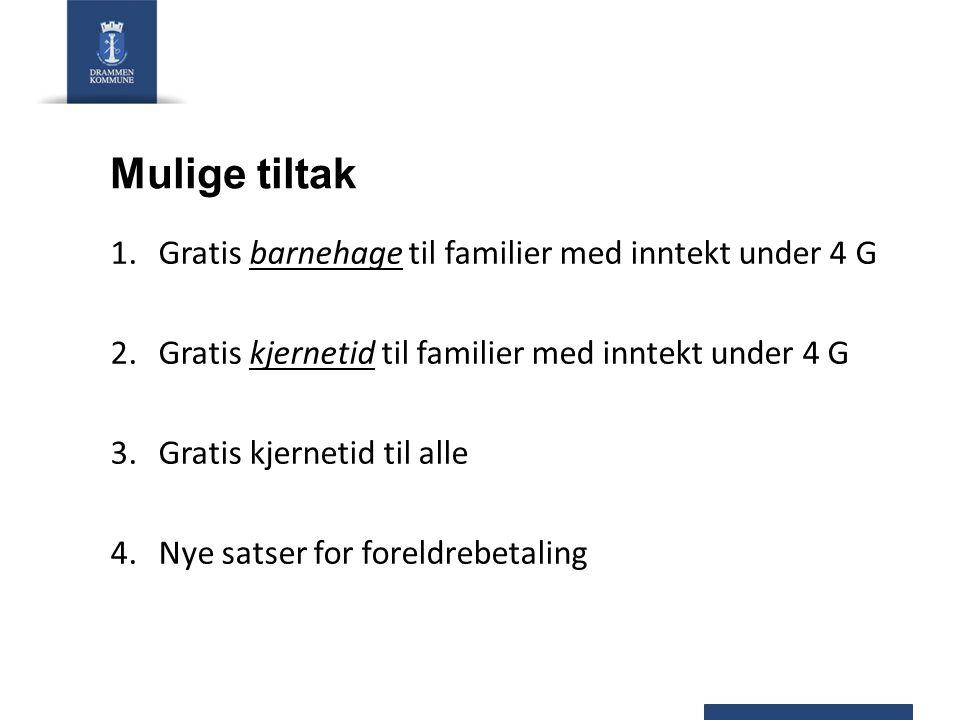 1.Gratis barnehage til familier med inntekt under 4 G 2.Gratis kjernetid til familier med inntekt under 4 G 3.Gratis kjernetid til alle 4.Nye satser for foreldrebetaling