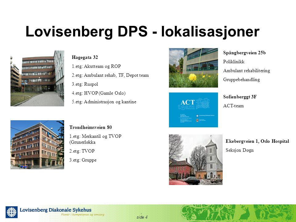 , side 4 Lovisenberg DPS - lokalisasjoner Hagegata 32 1.etg: Akutteam og ROP 2.etg: Ambulant rehab, TF, Depot team 3.etg: Ruspol 4.etg: HVOP (Gamle Os