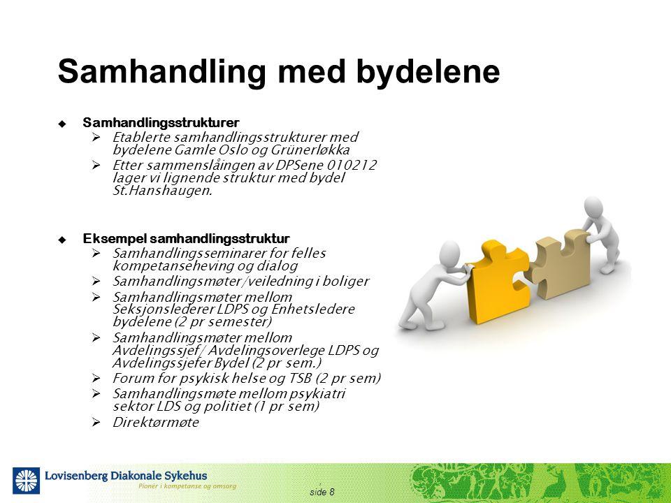 , side 8 Samhandling med bydelene  Samhandlingsstrukturer  Etablerte samhandlingsstrukturer med bydelene Gamle Oslo og Grünerløkka  Etter sammenslå