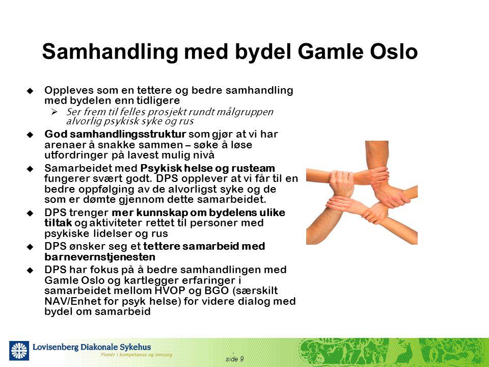 , side 9 Samhandling med bydel Gamle Oslo  Oppleves som en tettere og bedre samhandling med bydelen enn tidligere  Ser frem til felles prosjekt rund