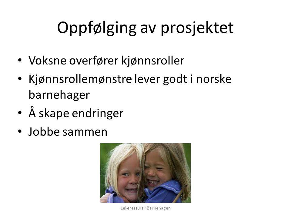 Oppfølging av prosjektet Voksne overfører kjønnsroller Kjønnsrollemønstre lever godt i norske barnehager Å skape endringer Jobbe sammen Lekeressurs i Barnehagen