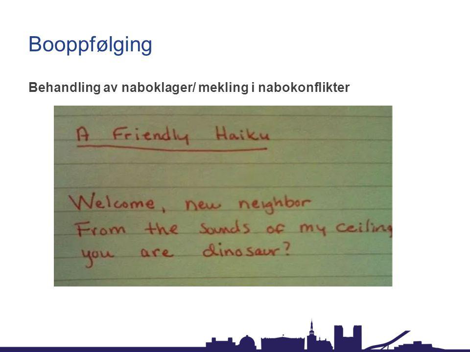 Booppfølging Behandling av naboklager/ mekling i nabokonflikter