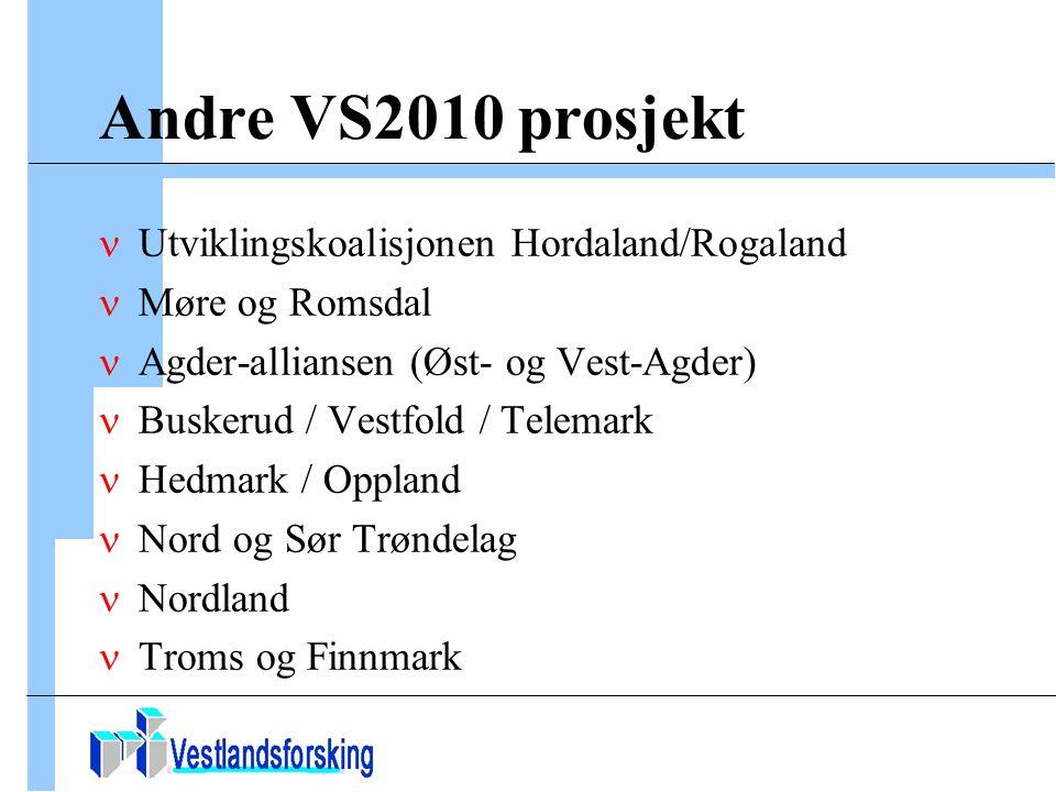 Andre VS2010 prosjekt Utviklingskoalisjonen Hordaland/Rogaland Møre og Romsdal Agder-alliansen (Øst- og Vest-Agder) Buskerud / Vestfold / Telemark Hedmark / Oppland Nord og Sør Trøndelag Nordland Troms og Finnmark