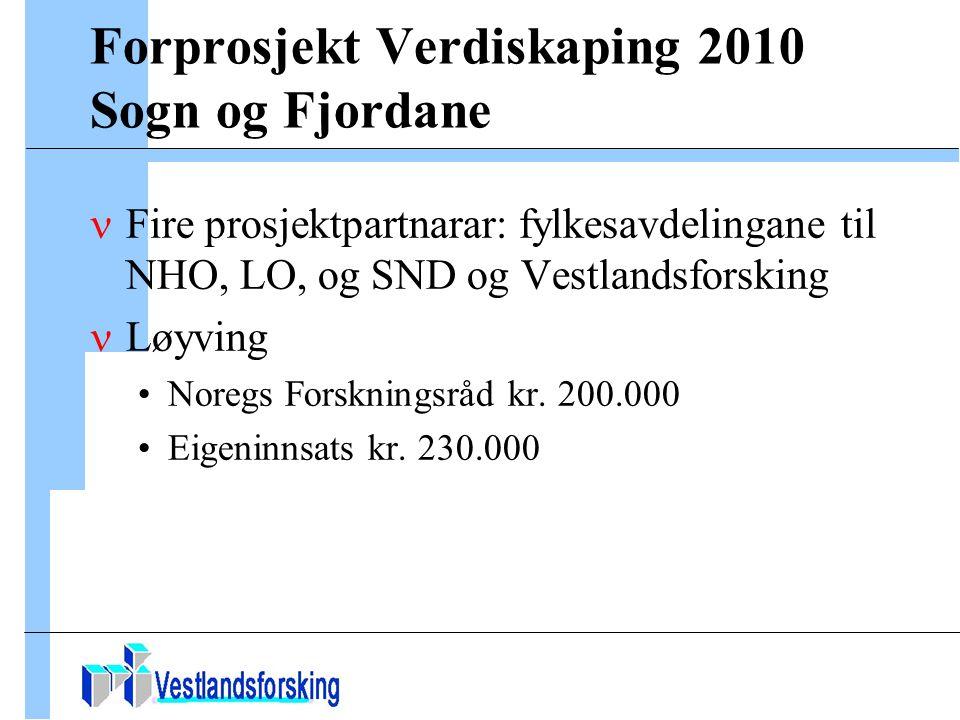 Forprosjekt Verdiskaping 2010 Sogn og Fjordane Fire prosjektpartnarar: fylkesavdelingane til NHO, LO, og SND og Vestlandsforsking Løyving Noregs Forskningsråd kr.