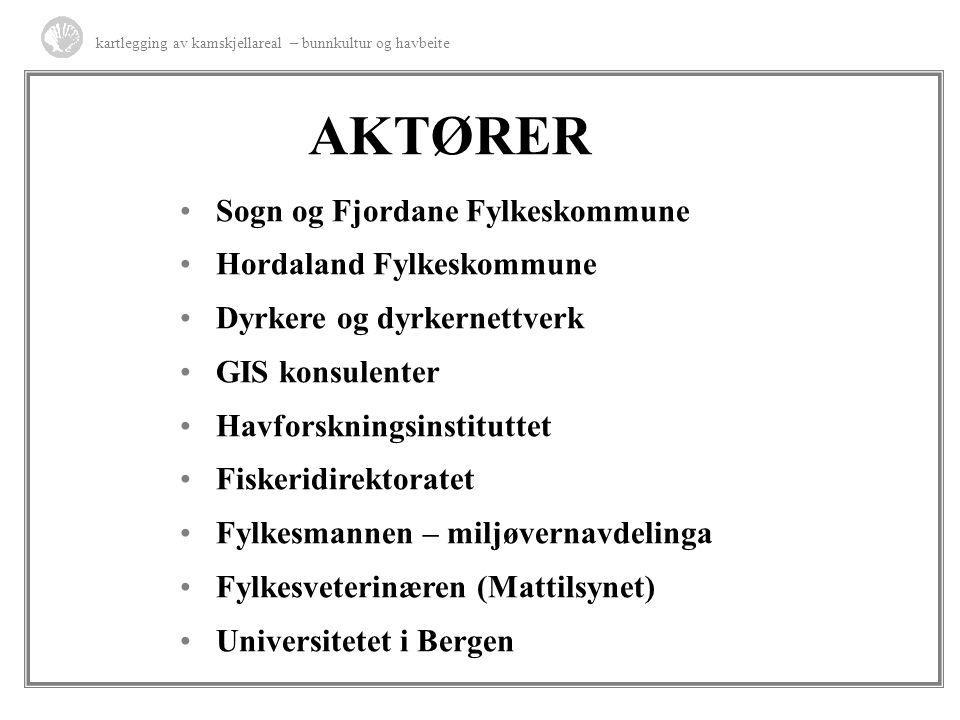 AKTØRER Sogn og Fjordane Fylkeskommune Hordaland Fylkeskommune Dyrkere og dyrkernettverk GIS konsulenter Havforskningsinstituttet Fiskeridirektoratet