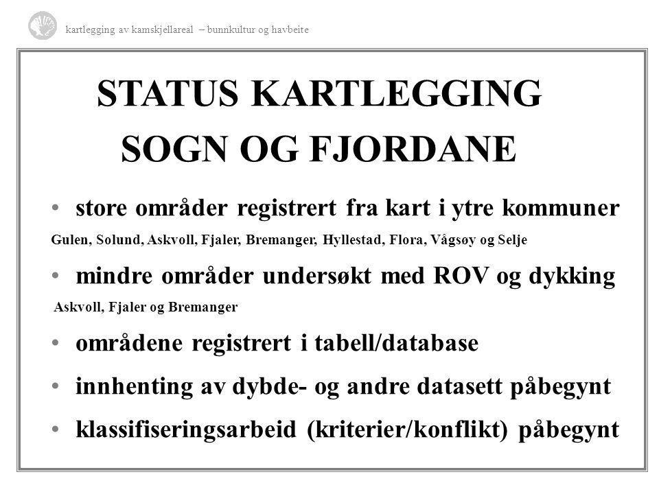 STATUS KARTLEGGING SOGN OG FJORDANE store områder registrert fra kart i ytre kommuner Gulen, Solund, Askvoll, Fjaler, Bremanger, Hyllestad, Flora, Våg