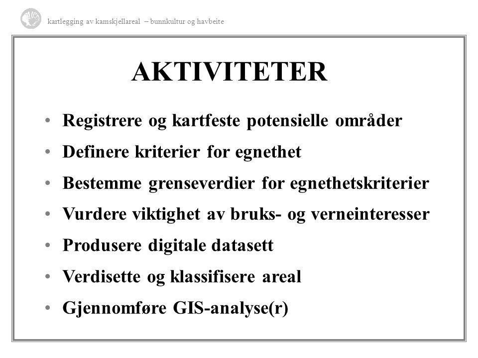 AKTIVITETER Registrere og kartfeste potensielle områder Definere kriterier for egnethet Bestemme grenseverdier for egnethetskriterier Vurdere viktighe