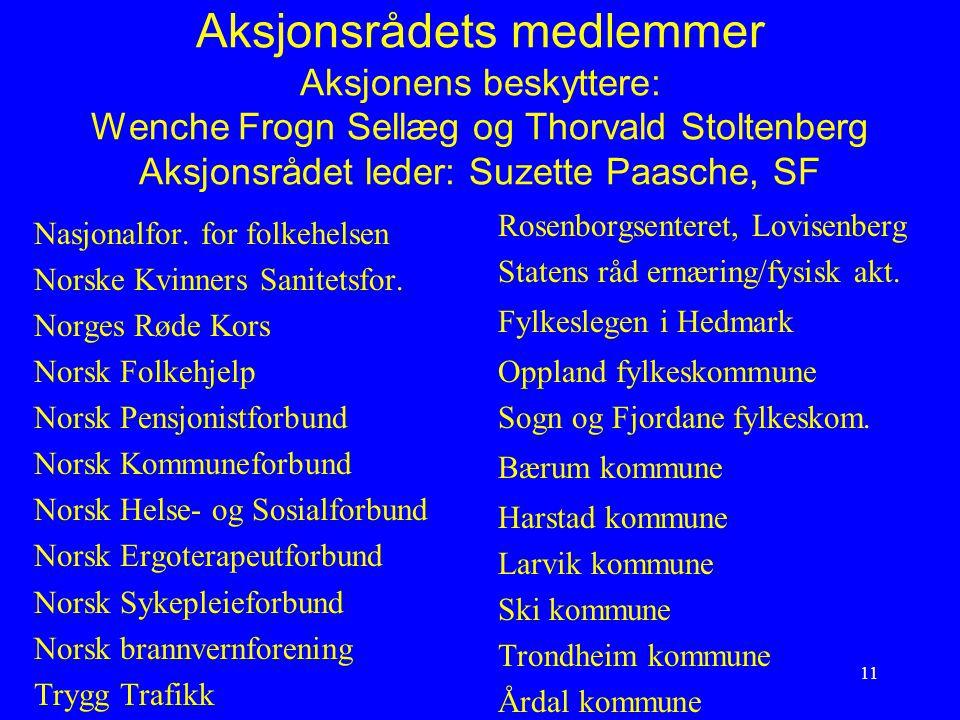11 Aksjonsrådets medlemmer Aksjonens beskyttere: Wenche Frogn Sellæg og Thorvald Stoltenberg Aksjonsrådet leder: Suzette Paasche, SF Nasjonalfor. for