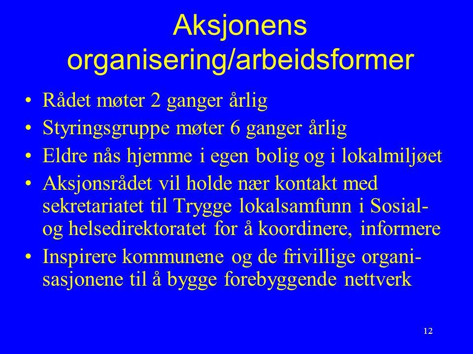 12 Aksjonens organisering/arbeidsformer Rådet møter 2 ganger årlig Styringsgruppe møter 6 ganger årlig Eldre nås hjemme i egen bolig og i lokalmiljøet
