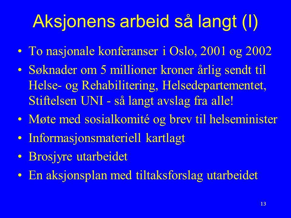 13 Aksjonens arbeid så langt (I) To nasjonale konferanser i Oslo, 2001 og 2002 Søknader om 5 millioner kroner årlig sendt til Helse- og Rehabilitering