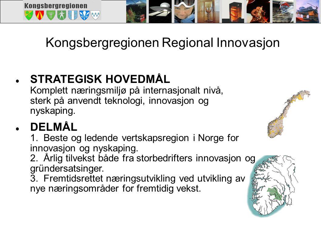 Kongsbergregionen Regional Innovasjon. STRATEGISK HOVEDMÅL Komplett næringsmiljø på internasjonalt nivå, sterk på anvendt teknologi, innovasjon og nys