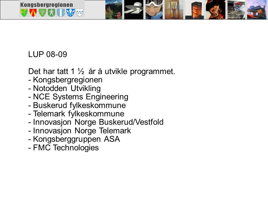 LUP 08-09 BUDSJETT Innovasjon Norge1.700.000 Kongsbergregionen 300.000 Notodden Utvikling 50.000 NCE Systems Engineering 105.000 Egeninnsats SMB 130.000 Bedriftsfinansiering1.220.000 Dette er en finansiering over 2 år.