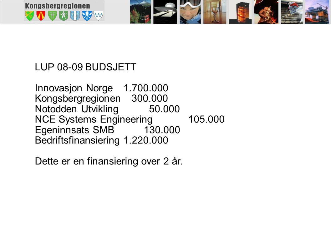 LUP 08-09 BUDSJETT Innovasjon Norge1.700.000 Kongsbergregionen 300.000 Notodden Utvikling 50.000 NCE Systems Engineering 105.000 Egeninnsats SMB 130.0