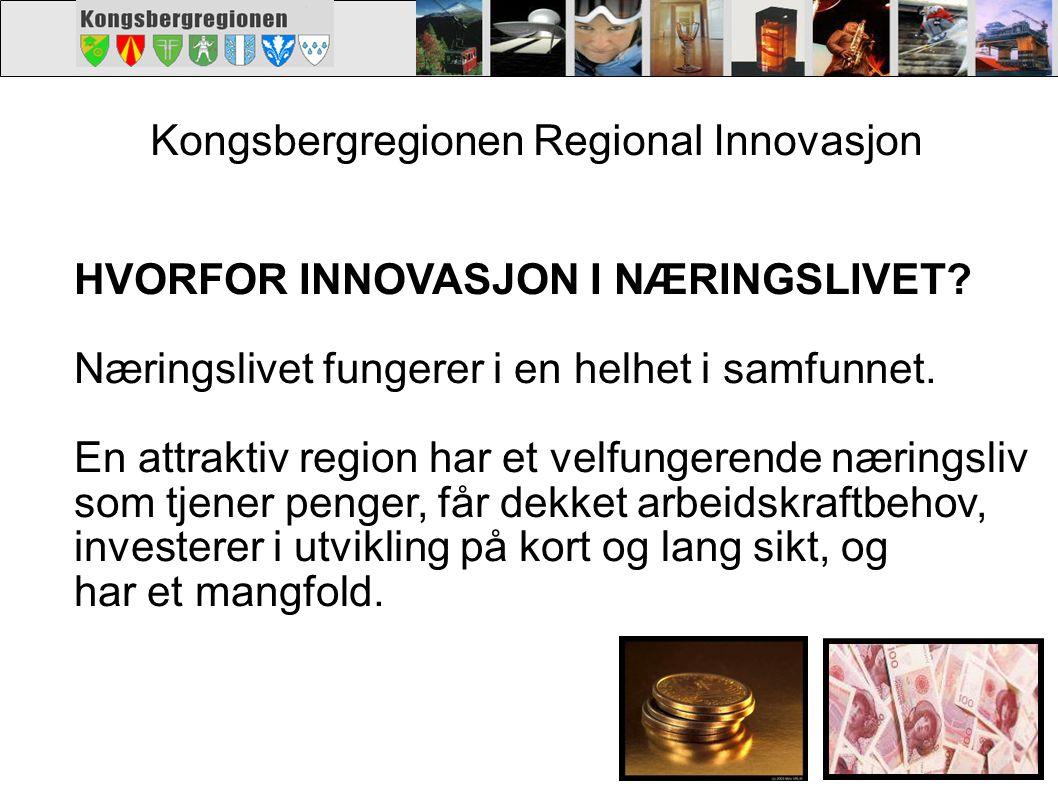 Kongsbergregionen Regional Innovasjon. HVORFOR INNOVASJON I NÆRINGSLIVET? Næringslivet fungerer i en helhet i samfunnet. En attraktiv region har et ve