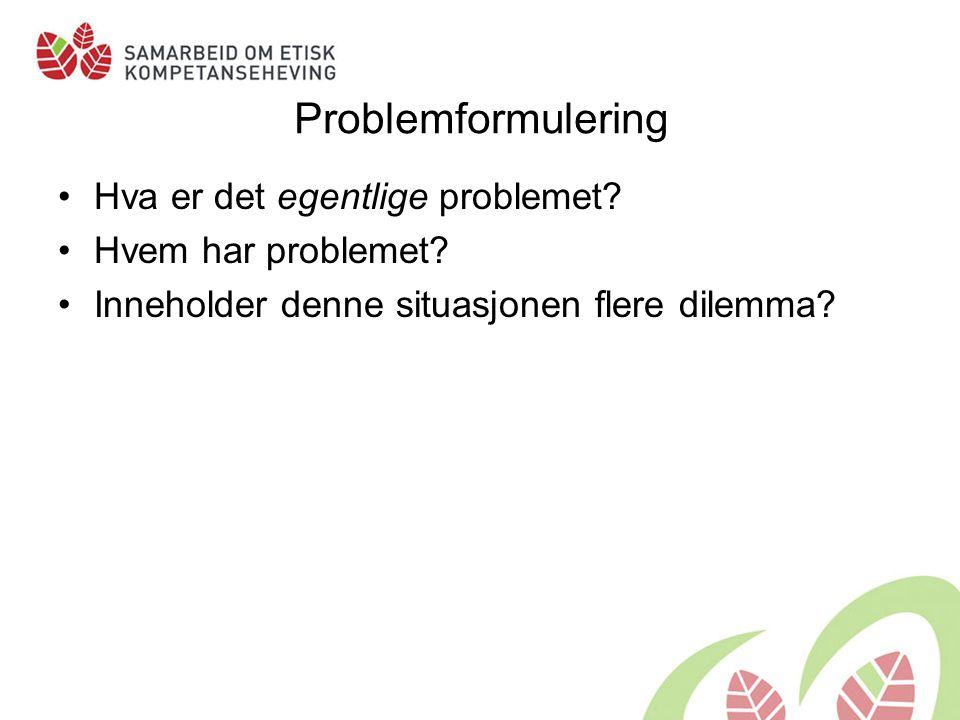 Problemformulering Hva er det egentlige problemet.