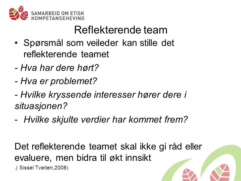 Reflekterende team Spørsmål som veileder kan stille det reflekterende teamet - Hva har dere hørt.