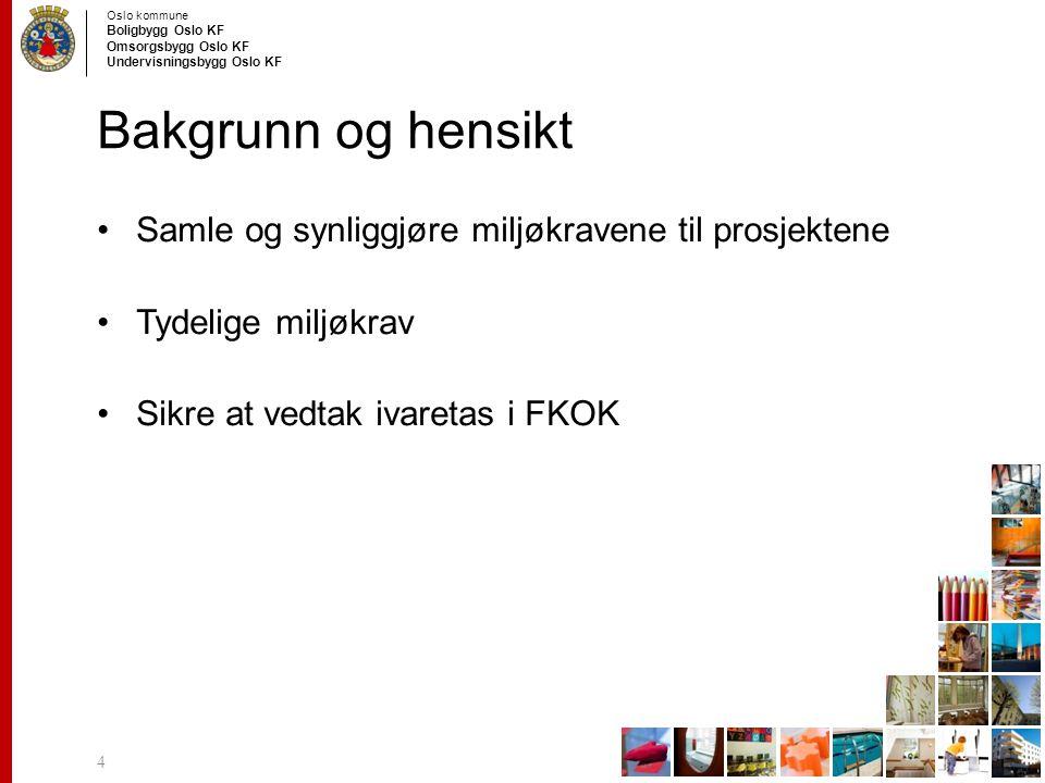 Oslo kommune Boligbygg Oslo KF Omsorgsbygg Oslo KF Undervisningsbygg Oslo KF Bakgrunn og hensikt Samle og synliggjøre miljøkravene til prosjektene Tyd
