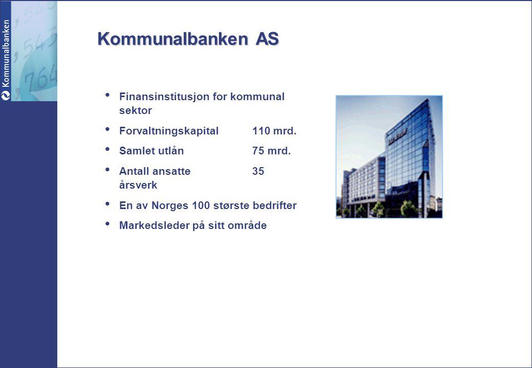 Kommunalbanken AS Finansinstitusjon for kommunal sektor Forvaltningskapital110 mrd. Samlet utlån75 mrd. Antall ansatte35 årsverk En av Norges 100 stør