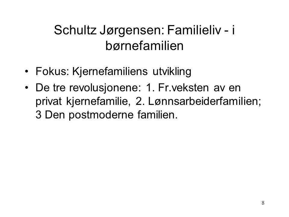 8 Schultz Jørgensen: Familieliv - i børnefamilien Fokus: Kjernefamiliens utvikling De tre revolusjonene: 1.
