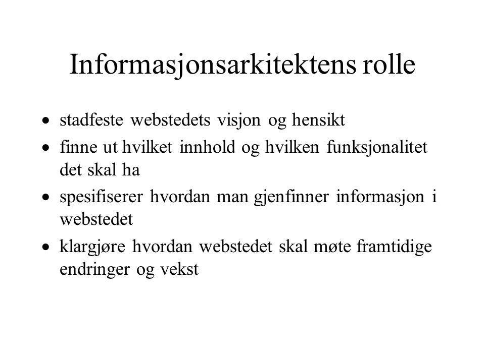 Informasjonsarkitektens rolle  stadfeste webstedets visjon og hensikt  finne ut hvilket innhold og hvilken funksjonalitet det skal ha  spesifiserer